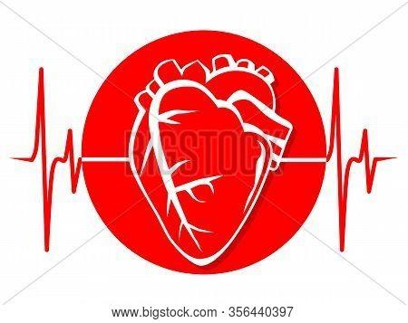 Heart Cardiology Cardiogram Medicine Health Red Print