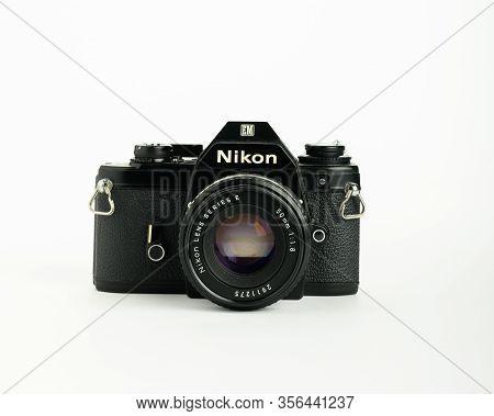Kuala Lumpur,malaysia,march 2,2020: The Old Film Camera Nikon Em Is A Member Of The Classic Nikon Co