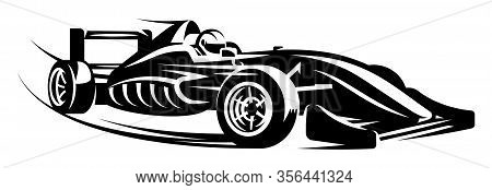 Vector Monochrome Illustration With Sports Racing Cars. Scalable Illustration.