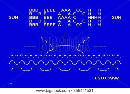 Beach In Old Computer Style Of Dos Symbols. Old School Rare Typographic Apparel Print. Vector Illust
