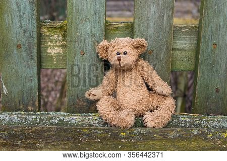 A Toy Teddy Bear Sits On A Bench On Which Green Paint Has Peeled Off. Abandoned, Forgotten Toy