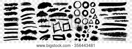 Brush Hand Drawn Underlines, Circles, Squares Set Collection. Collection Of Scribbles Brush Underlin
