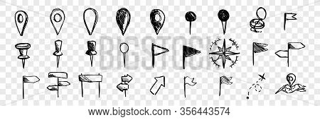 Hand Drawn Logistic Navigation Icons, Doodle Set Collection. Hand Drawn Marks, Pointers, Compasses,