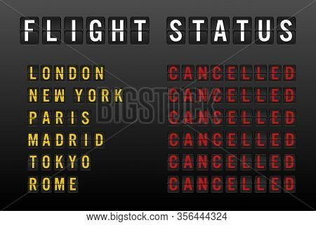 Flight Status Board With Cancelled Worldwide Flights And Passenger Chaos Due To Global Travel Ban Re