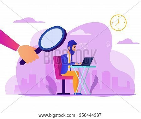 Man Works Under The Supervision Of A Boss. Superiors Is Watching Over Employee. Design Element For B