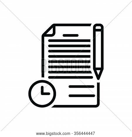 Black Line Icon For Term Period Duration Conditions Document Deal Phrase Long-term Contract Agreemen