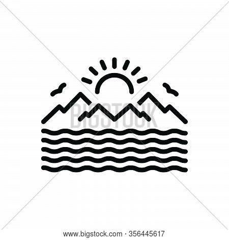 Black Line Icon For Sea Marine Ocean Oceanic Saltwater Seawater Nautical Pelagic Deep Sun Mountain W