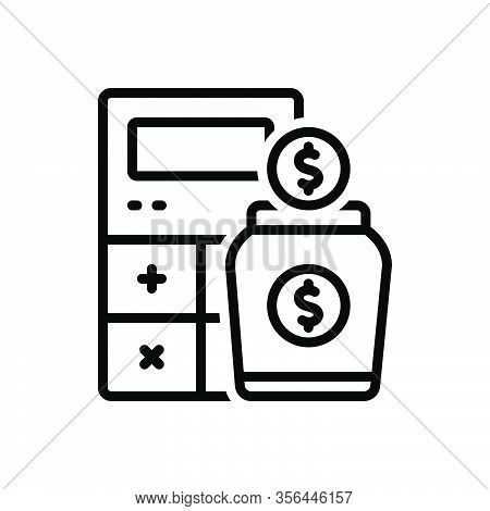 Black Line Icon For Income Earning Wages Revenue Finances Yield Calculator Money Received Stipend