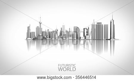 Futuristic Innovation City Landmark Isolated On The White Background. 3d Render City Landscape For F