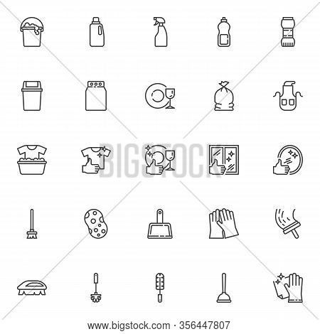 Cleaning Service Line Icons Set. Linear Style Symbols Collection, Outline Signs Pack. Maid Service V