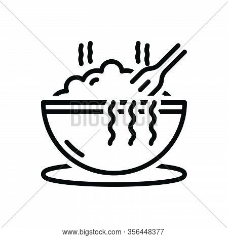 Black Line Icon For Meal Hot Bowl Eat Consume Noddle Swallow Feast-on Imbibe Lunch Junket Food