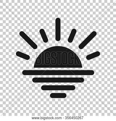 Sun Icon In Flat Style. Sunlight Sign Vector Illustration On White Isolated Background. Daylight Bus