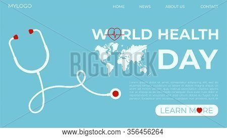 Template Concept For Web Page On The Theme Of World Health Day. Vector Illustration Of A Stethoscope