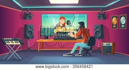 Singer In Recording Studio. Singing Woman In Artist Booth With Equipment And Window, Sound Engineer
