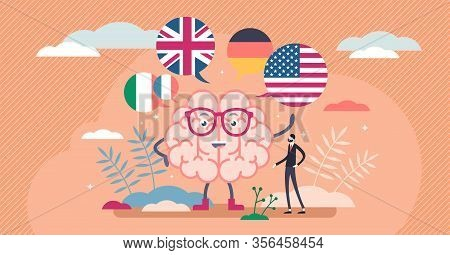 Learning Language Vector Illustration. Speech Education Flat Tiny Persons Concept. Linguistic Online