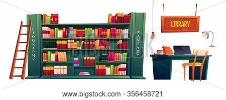 Library With Books On Shelves And Laptop On Table. Vector Cartoon Illustration Of School, University