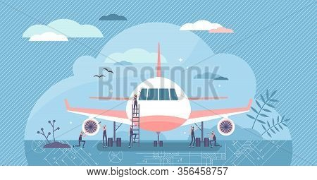 Aerospace Engineer Vector Illustration. Maintenance Workers Flat Tiny Persons Concept. Service Work