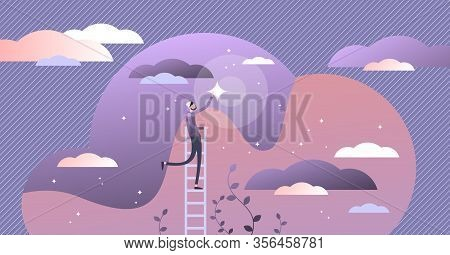 Reaching Dreams Vector Illustration. Flat Tiny Ambition Achievement Persons Concept. Creative Abstra