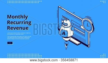 Monthly Recurring Revenue Banner. Fixed Earnings And Payments, Mrr Concept. Vector Landing Page Of R