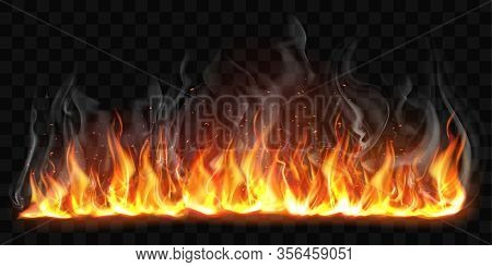 Realistic Fire With Smoke Isolated On Transparent Background. Vector Mockup Of Flame Border, Bright