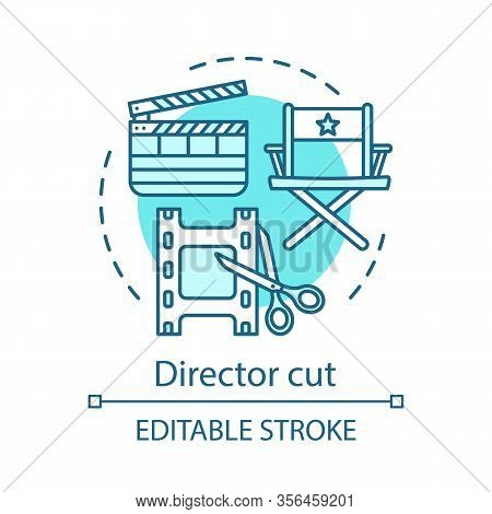 Director Cut Concept Icon.video Post Production Idea Thin Line Illustration. Film Editing. Cinematog