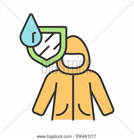 Raincoat Color Icon. Water Resistant Fabric. Waterproof Coat. Hydrophobic Clothing. Waterproof Jacke