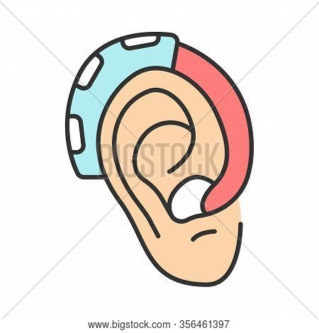 Hearing Aid Amplifier Color Icon. Acoustic Sound Enhancer. Hearing Loss Therapy. Amplification, Assi