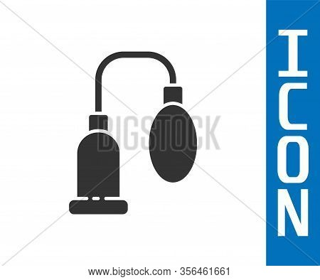 Grey Penis Pump Icon Isolated On White Background. Penis Enlarger. Sex Toy For Men. Vacuum Pump With