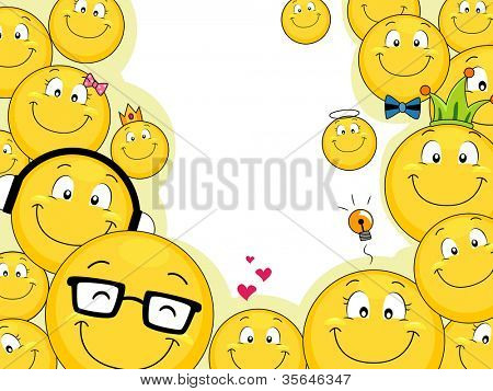 Background Illustration Featuring a Smiley Family