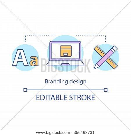Brand Design Concept Icon. Branding Idea Thin Line Illustration. Corporate Style. Creating Logo. Tem