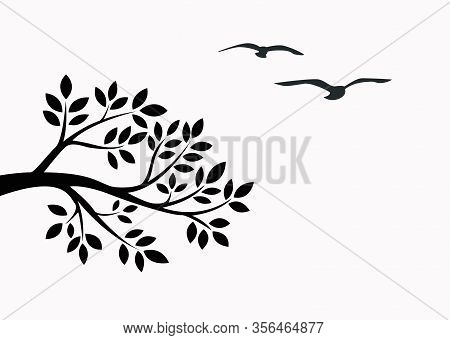 Black Tree Brunch With Bird Isolated On White Background.