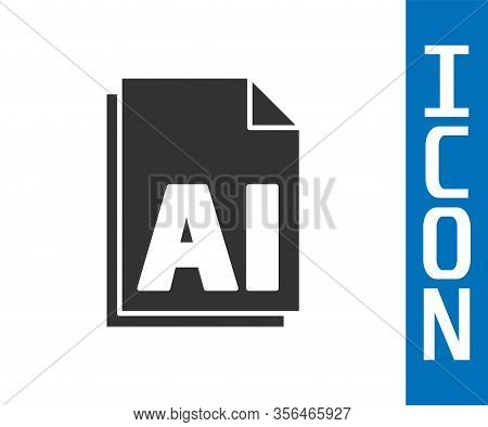 Grey Ai File Document. Download Ai Button Icon Isolated On White Background. Ai File Symbol. Vector