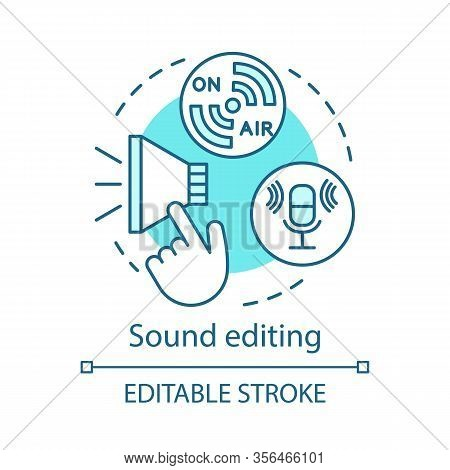 Sound Editing Concept Icon. Sound Production Idea Thin Line Illustration. Cinematography. Audio Reco