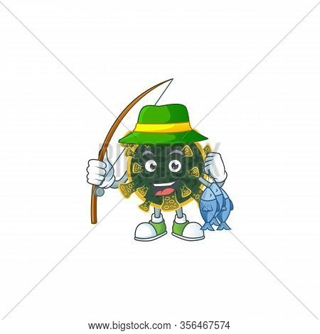 Cartoon Character Of Funny Fishing New Coronavirus