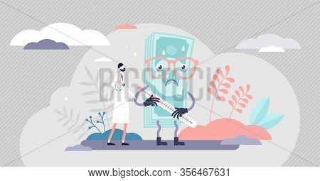 Health Care Crash Concept, Flat Tiny Person Vector Illustration. Medical System Crisis Recession. We