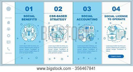 Csr Onboarding Mobile Web Pages Vector Template. Corporate Social Responsibility. Social Benefits, A