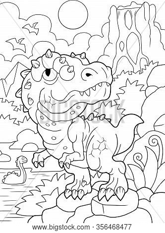 Cartoon Cute Prehistoric Dinosaur Tyrannosaurus Coloring Book Funny Illustration