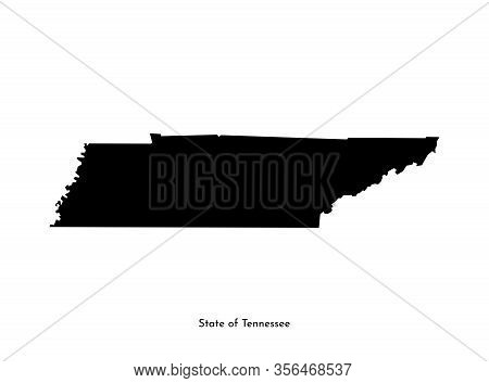 Vector Isolated Simplified Illustration Icon With Black Map Silhouette Of State Of Tennessee (usa).