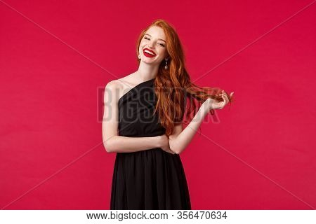 Elegance, Fashion And Woman Concept. Portrait Of Confident Sexy And Stylish Young Redhead Woman In R