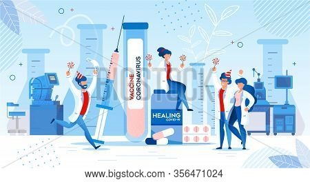 Happy Doctor Scientist Researcher Rejoicing Healing Coronavirus Vaccine Development And Discover. La