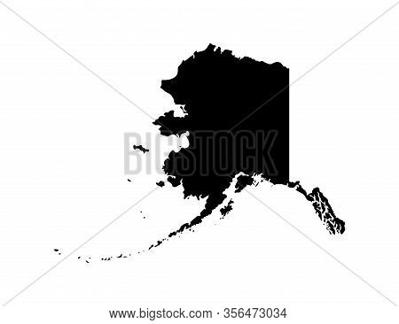 Vector Isolated Simplified Illustration Icon With Black Silhouette Of Alaska Map - State Of The Usa.