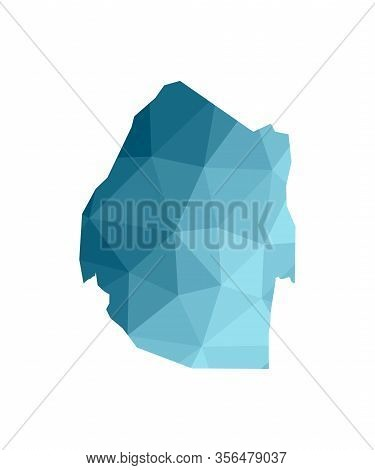 Vector Isolated Illustration Icon With Simplified Blue Silhouette Of Eswatini (swaziland) Map. Polyg