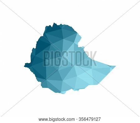 Vector Isolated Illustration Icon With Simplified Blue Silhouette Of Ethiopia Map. Polygonal Geometr