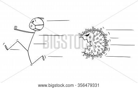 Vector Cartoon Stick Figure Drawing Conceptual Illustration Of Man Wearing Protective Face Mask Runn