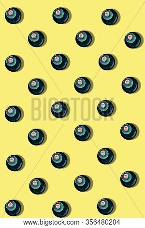 Seamless Pattern Yellow   With Cakes On Plate For Holliday  Post Card. Background  For Menu Design,