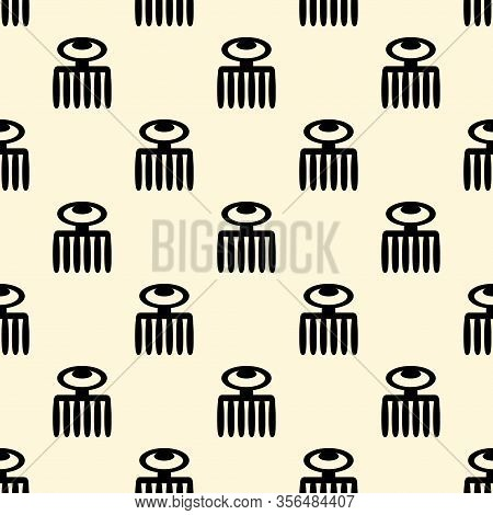 Vector Seamless Pattern With Adinkra Characters . Ritual Screen Printing Of African Peoples And Trib