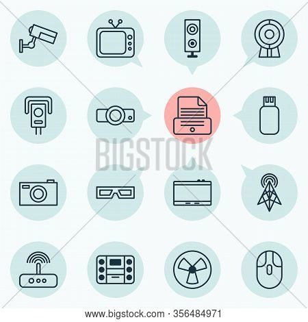 Device Icons Set With Photo Apparatus, Web Cam, Photocopy And Other Boombox Elements. Isolated Vecto