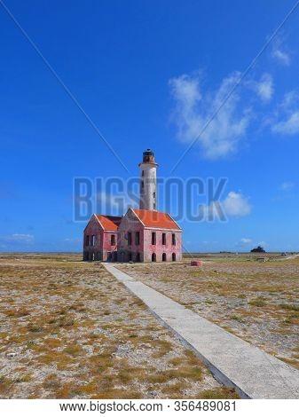 Old rundown lighthouse at Small Curacao, Carribbean