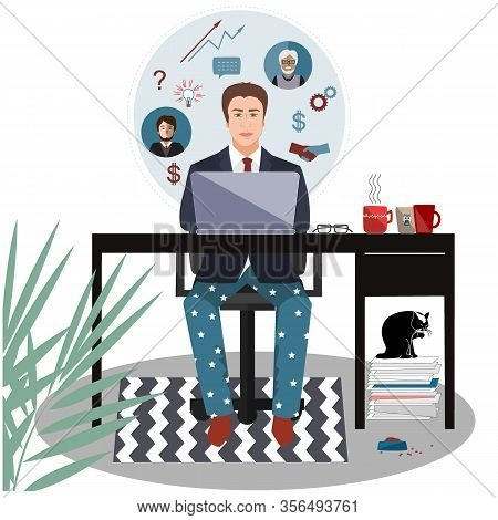 Businessman In A Suit Jacket And Pajama Bottoms Working From Home Using Laptop Computer. Covid Or Co