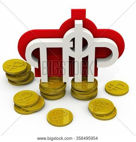Symbol Of The Russian Pension Fund And Coins. The Symbol Of The Pension Fund Of The Russian Federati